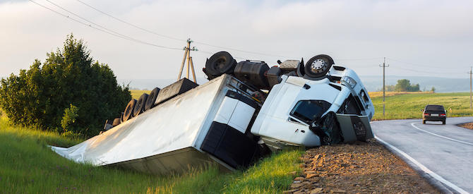 Crashed truck accident